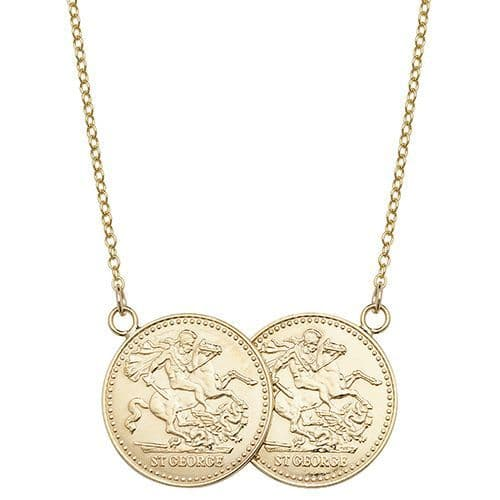 Yellow Gold Plated Sterling Silver St George Full Two Coin Holly Necklace