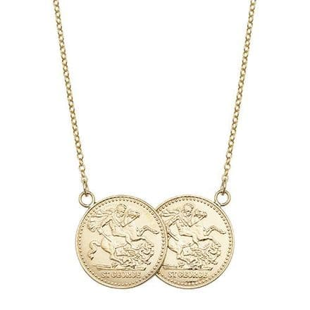 Yellow Gold Plated Sterling Silver St George Half Two Coin Holly Necklace