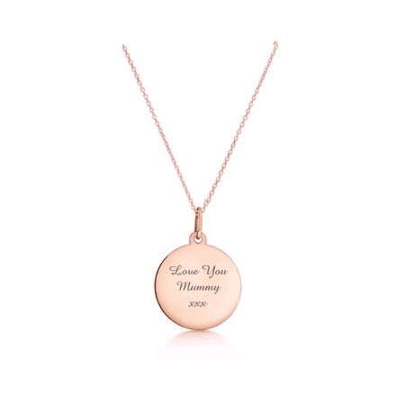 Personalised 9ct Rose Gold 18mm Round Disc Pendant