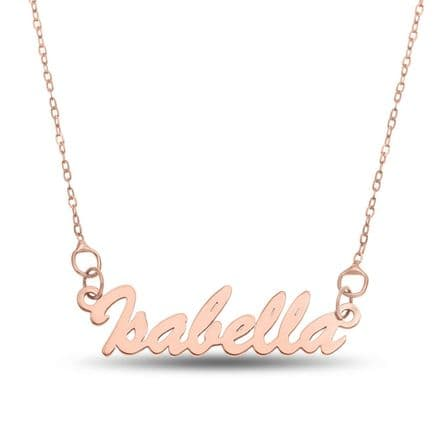 Personalised 9ct Rose Gold Script Name Necklace