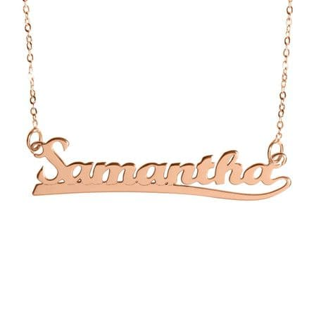 Personalised 9ct Rose Gold Underlined Name Necklace