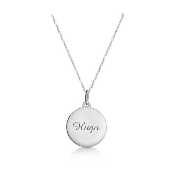 Personalised 9ct White Gold 18mm Round Disc Pendant