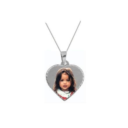 Personalised 9ct White Gold Heart 23mm Photograph Pendant