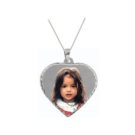 Personalised 9ct White Gold Heart 32.5mm Photograph Pendant