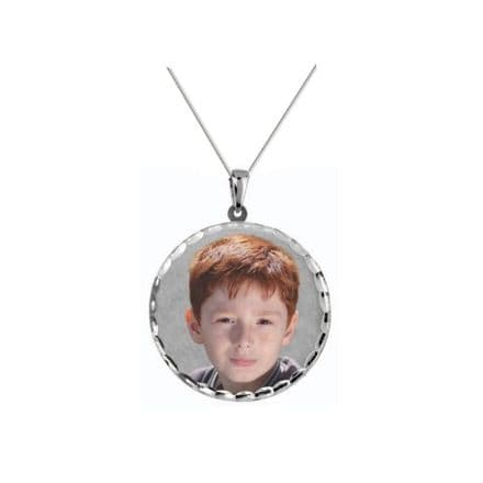 Personalised 9ct White Gold Round 30mm Photograph Pendant