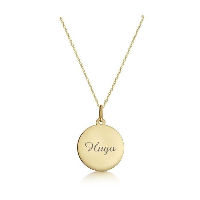 Personalised 9ct Yellow Gold 18mm Round Disc Pendant