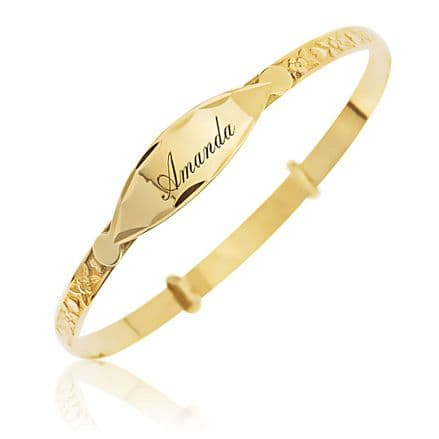 Personalised 9ct Yellow Gold Childrens ID Expander Bangle