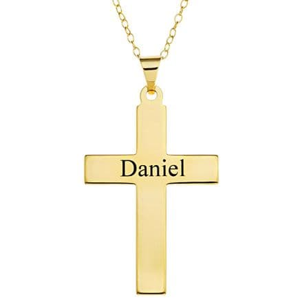 Personalised 9ct Yellow Gold Cross Pendant