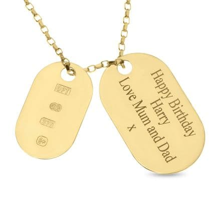 Personalised 9ct Yellow Gold Double Dog Tag Pendant