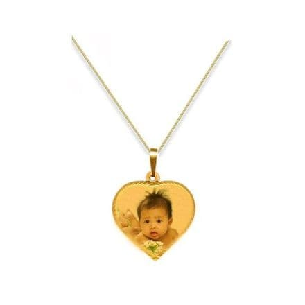 Personalised 9ct Yellow Gold Heart 32.5mm Photograph Pendant