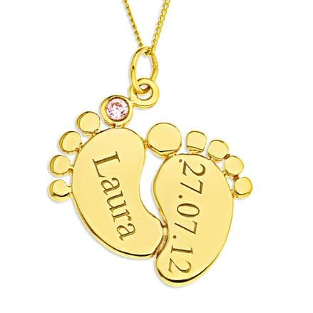 Personalised 9ct Yellow Gold Pink or Blue Cubic Zirconia Baby Feet Pendant