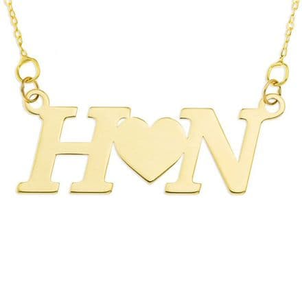 Personalised 9ct Yellow Gold Two Initials With Heart Necklace