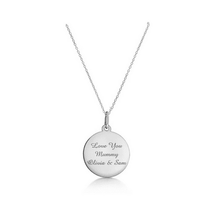 Personalised Sterling Silver 18mm Round Disc Pendant