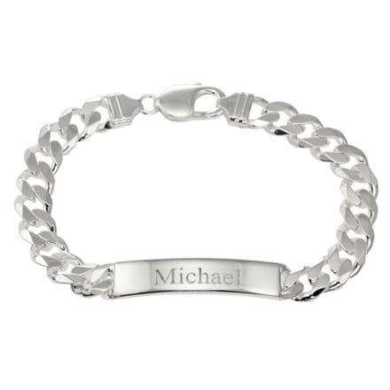 Personalised Sterling Silver 1oz Diamond Set Identity Bracelet