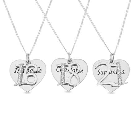 Personalised Sterling Silver Age & Name Heart Pendant
