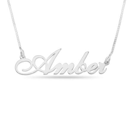 Personalised Sterling Silver Carrie Font Name Necklace
