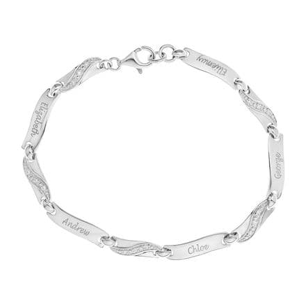 Personalised Sterling Silver Cubic Zirconia Family Bracelet