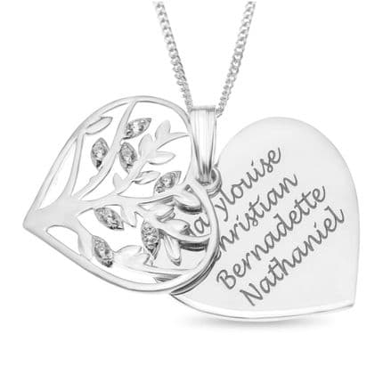 Personalised Sterling Silver Cubic Zirconia Family Tree Heart Pendant