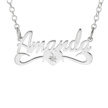 Personalised Sterling Silver Diamond Set Name Necklace