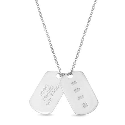 Personalised Sterling Silver Double Dog Tag Pendant Set