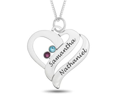 Personalised Sterling Silver Double Name & Birthstone Heart Pendant