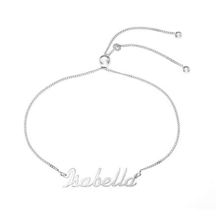Personalised Sterling Silver Name Plate Adjustable Toggle Bracelet