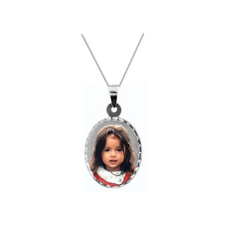 Personalised Sterling Silver Oval 25mm Photograph Pendant