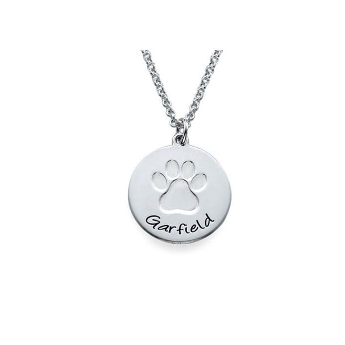 Personalised Sterling Silver Paw Print Necklace