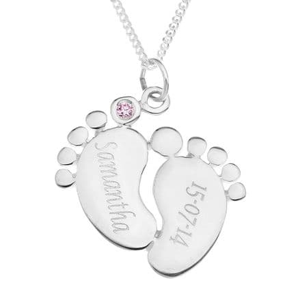 Personalised Sterling Silver Pink or Blue Cubic Zirconia Baby Feet Pendant