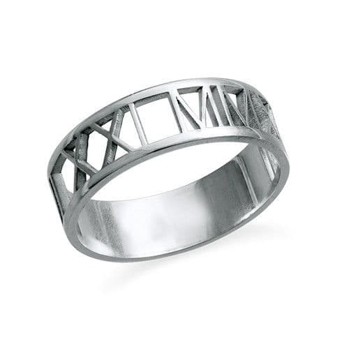 Personalised Sterling Silver Roman Numeral Ring