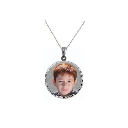 Personalised Sterling Silver Round 24mm Photograph Pendant
