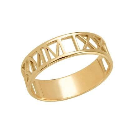 Personalised Yellow Gold Plated Roman Numeral Ring
