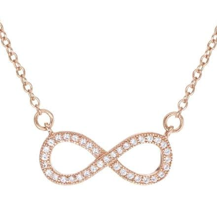 Rose Gold Plated Sterling Silver CZ Infinity Adjustable Pendant