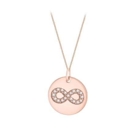 Rose Gold Plated Sterling Silver CZ Infinity Round Disc Pendant