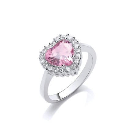 Silver Heart Cut Pink & White Cubic Zirconia Cluster Ring