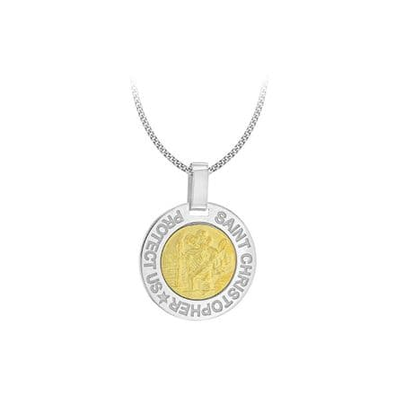 Sterling Silver 2 Tone St Christopher Round Pendant