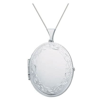 Sterling Silver 45mm Patterned Oval Family Locket