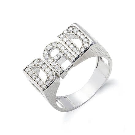 Sterling Silver 5g CZ ID Sides Dad Ring