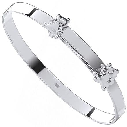 Sterling Silver Childrens Expandable Bangle with Floating Teddy Bears