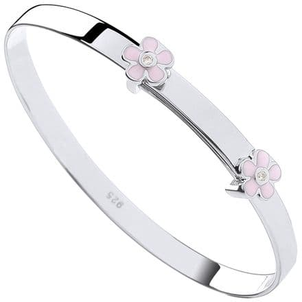 Sterling Silver Childrens Expandable Pink Enamel CZ Flowers Bangle