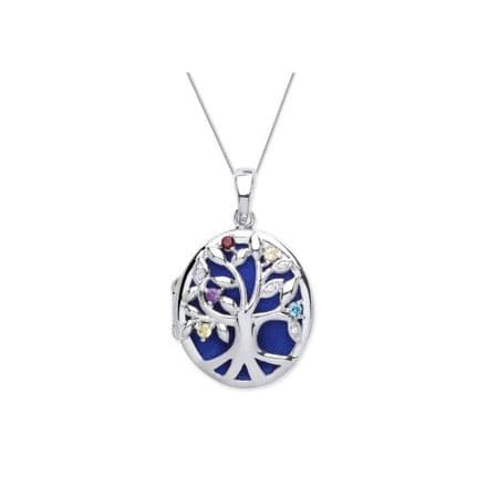 Sterling Silver Coloured CZ Tree Of Life Oval Locket