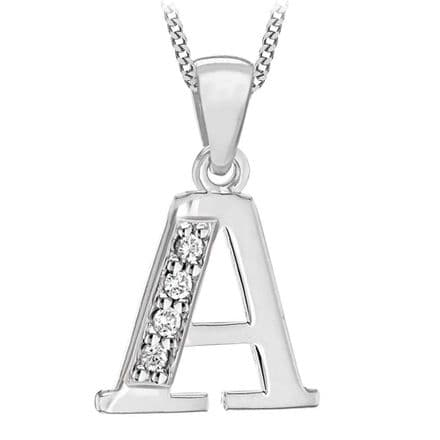 Sterling Silver Cubic Zirconia Initial Pendant