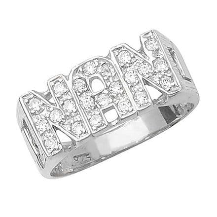 Sterling Silver CZ ID Sides Nan Ring