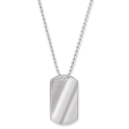 Sterling Silver Dog Tag & Bead Chain