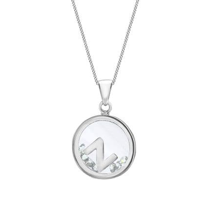 Sterling Silver Initial With CZ Floating Case Pendant