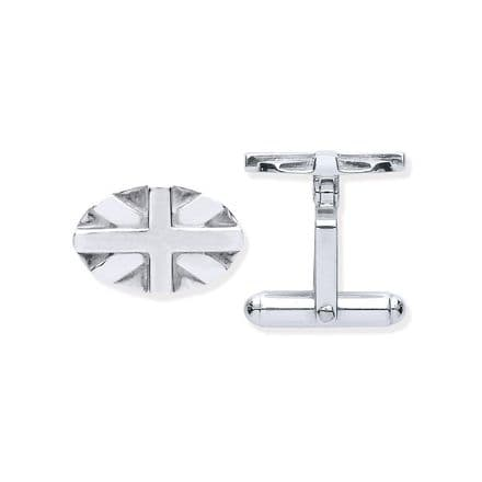 Sterling Silver Union Jack Oval Cufflinks