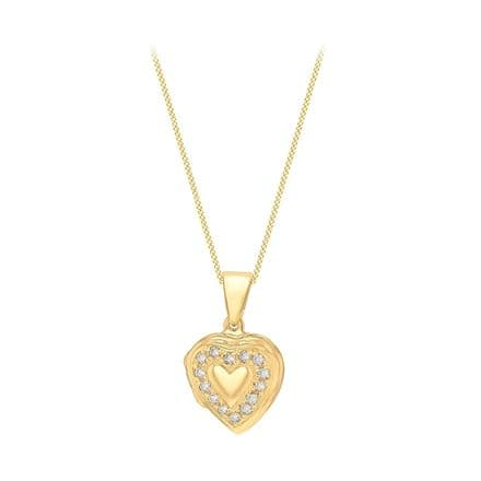 Sterling Silver Yellow Gold Plated CZ Heart Locket