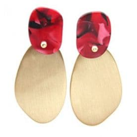 'Glamour' Oval Earrings - Red and Gold