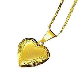 18K Gold  Plated Allah Heart Locket Necklace