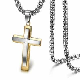 18K Gold Plated Chunky Cross Necklace